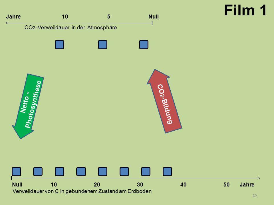 43 1020304050 Jahre Verweildauer von C in gebundenem Zustand am Erdboden CO 2 -Verweildauer in der Atmosphäre Null 10Null5Jahre Film 1 Netto - Photosy
