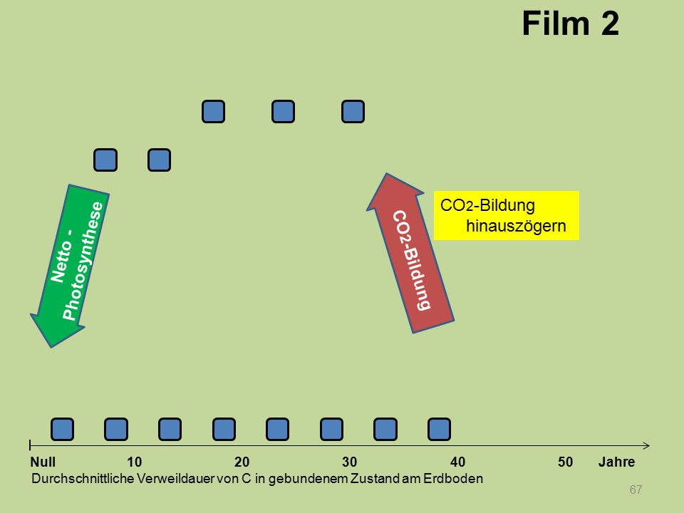 67 1020304050 Jahre Durchschnittliche Verweildauer von C in gebundenem Zustand am Erdboden Null Netto - Photosynthese CO 2 -Bildung Film 2 CO 2 -Bildu