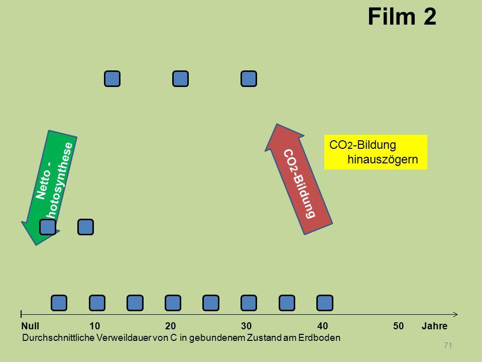 Netto - Photosynthese 71 1020304050 Jahre Durchschnittliche Verweildauer von C in gebundenem Zustand am Erdboden Null CO 2 -Bildung Film 2 CO 2 -Bildu