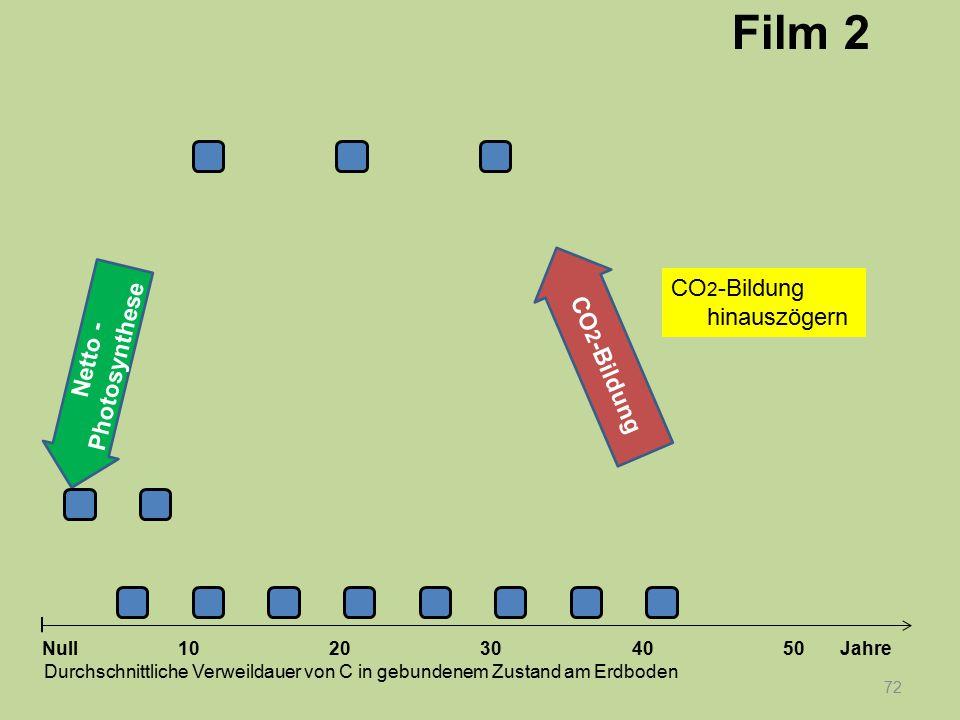Netto - Photosynthese 72 1020304050 Jahre Durchschnittliche Verweildauer von C in gebundenem Zustand am Erdboden Null CO 2 -Bildung Film 2 CO 2 -Bildu
