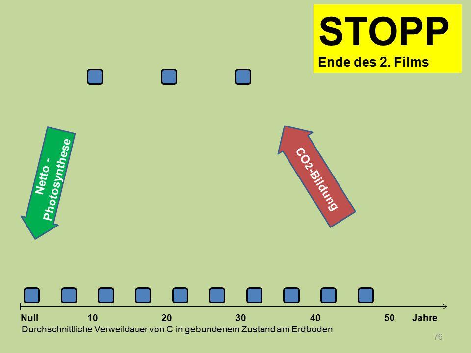 Netto - Photosynthese 76 1020304050 Jahre Durchschnittliche Verweildauer von C in gebundenem Zustand am Erdboden Null CO 2 -Bildung STOPP Ende des 2.