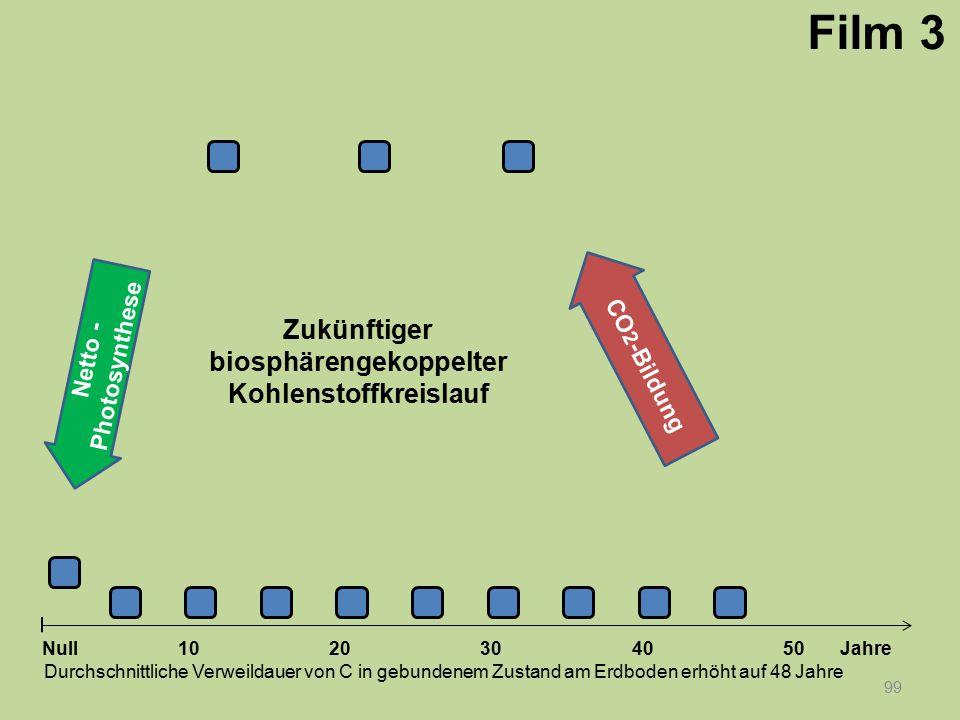 Netto - Photosynthese 99 1020304050 Jahre Durchschnittliche Verweildauer von C in gebundenem Zustand am Erdboden erhöht auf 48 Jahre Null CO 2 -Bildun