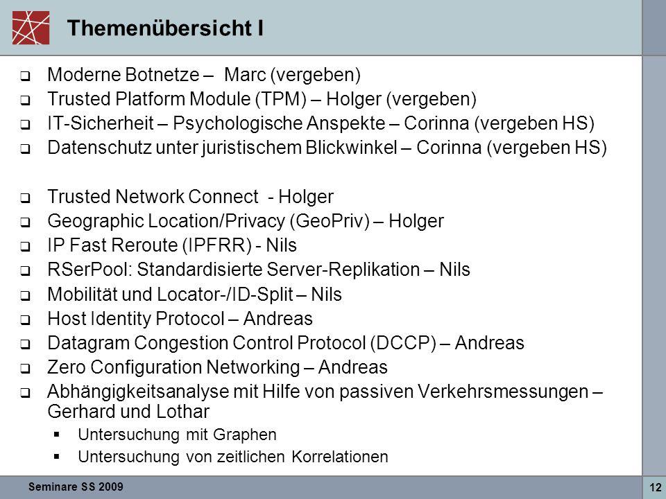 Seminare SS 2009 12 Themenübersicht I  Moderne Botnetze – Marc (vergeben)  Trusted Platform Module (TPM) – Holger (vergeben)  IT-Sicherheit – Psych