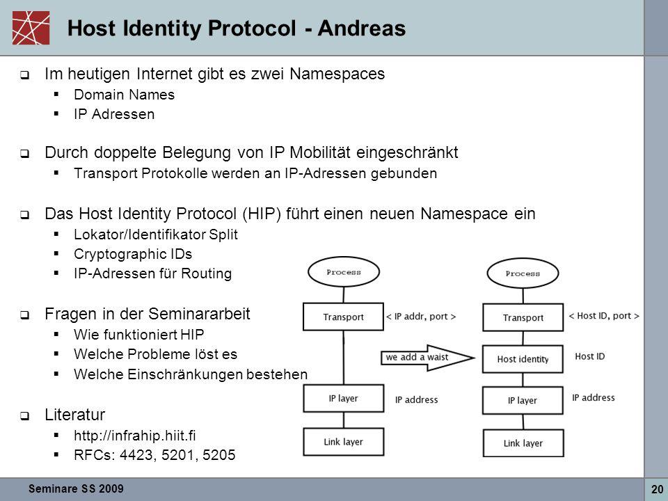 Seminare SS 2009 20 Host Identity Protocol - Andreas  Im heutigen Internet gibt es zwei Namespaces  Domain Names  IP Adressen  Durch doppelte Bele
