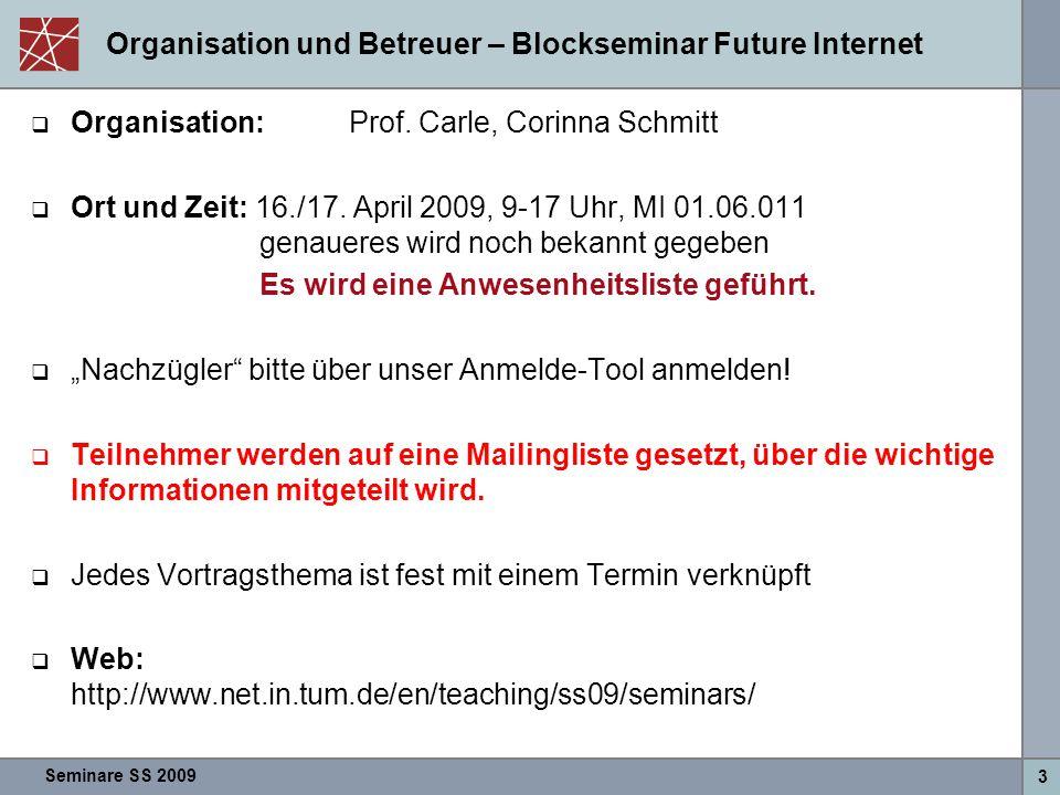 Seminare SS 2009 3 Organisation und Betreuer – Blockseminar Future Internet  Organisation:Prof. Carle, Corinna Schmitt  Ort und Zeit: 16./17. April