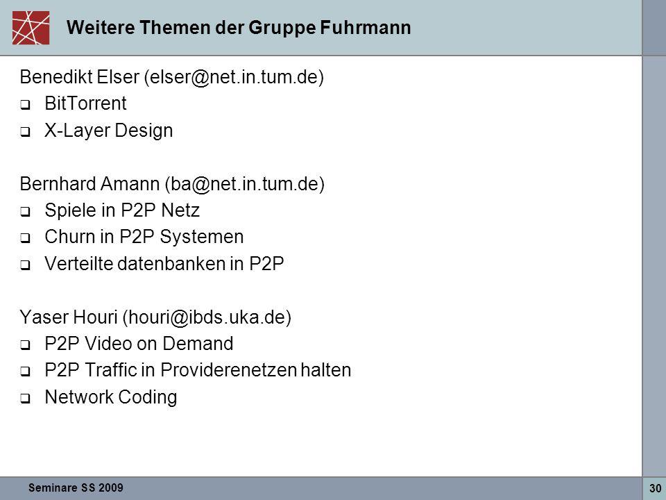 Seminare SS 2009 30 Weitere Themen der Gruppe Fuhrmann Benedikt Elser (elser@net.in.tum.de)  BitTorrent  X-Layer Design Bernhard Amann (ba@net.in.tu