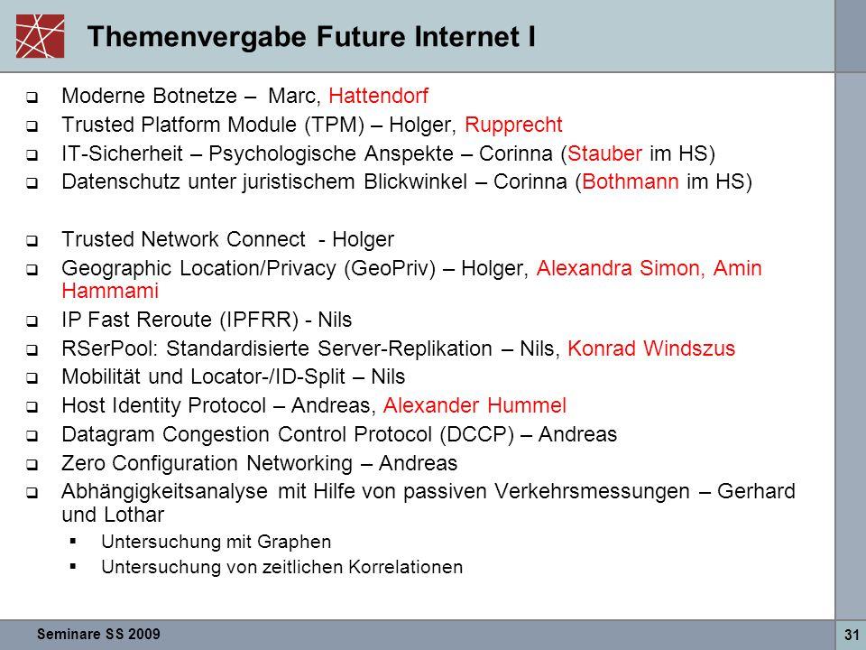 Seminare SS 2009 31 Themenvergabe Future Internet I  Moderne Botnetze – Marc, Hattendorf  Trusted Platform Module (TPM) – Holger, Rupprecht  IT-Sic