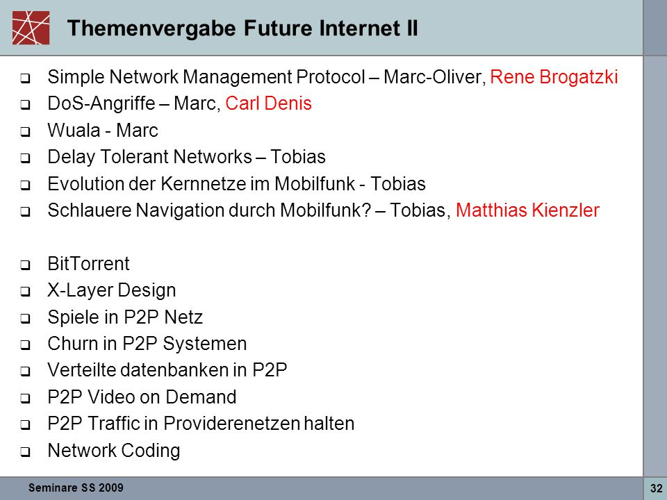 Seminare SS 2009 32 Themenvergabe Future Internet II  Simple Network Management Protocol – Marc-Oliver, Rene Brogatzki  DoS-Angriffe – Marc, Carl De
