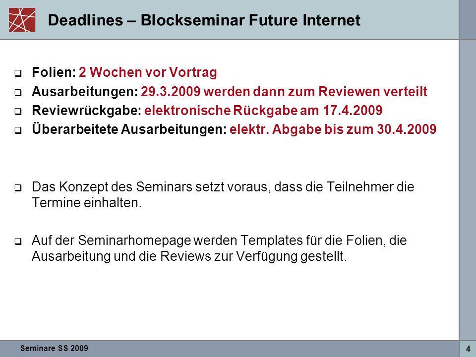 Seminare SS 2009 4 Deadlines – Blockseminar Future Internet  Folien: 2 Wochen vor Vortrag  Ausarbeitungen: 29.3.2009 werden dann zum Reviewen vertei