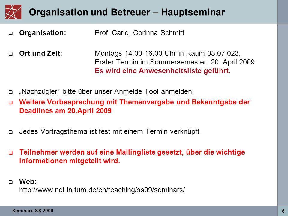 Seminare SS 2009 5 Organisation und Betreuer – Hauptseminar  Organisation:Prof. Carle, Corinna Schmitt  Ort und Zeit:Montags 14:00-16:00 Uhr in Raum