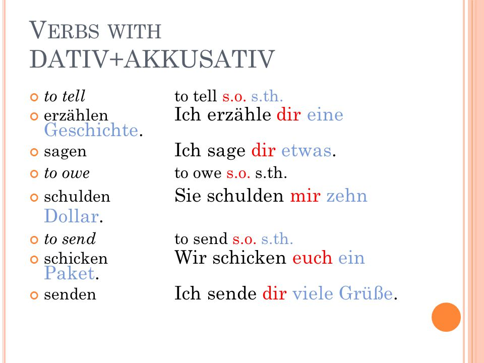 V ERBS WITH DATIV+AKKUSATIV Some verbs allow you to use both or one or the other: to write - to write s.o. s.th. - to write s.th. - to write s.o. In G