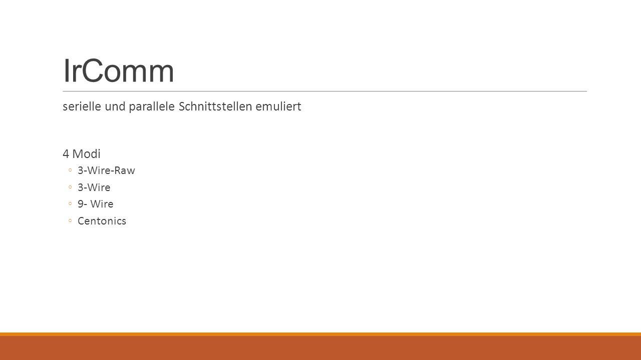 IrComm serielle und parallele Schnittstellen emuliert 4 Modi ◦3-Wire-Raw ◦3-Wire ◦9- Wire ◦Centonics