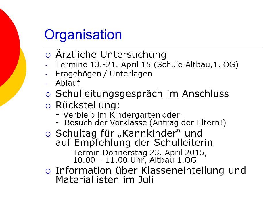 Organisation  Ärztliche Untersuchung - Termine 13.-21. April 15 (Schule Altbau,1. OG) - Fragebögen / Unterlagen - Ablauf  Schulleitungsgespräch im A