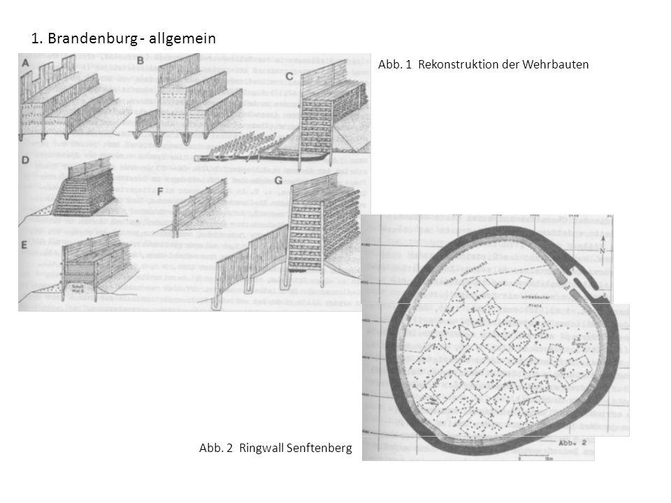 1. Brandenburg - allgemein Abb. 1 Rekonstruktion der Wehrbauten Abb. 2 Ringwall Senftenberg