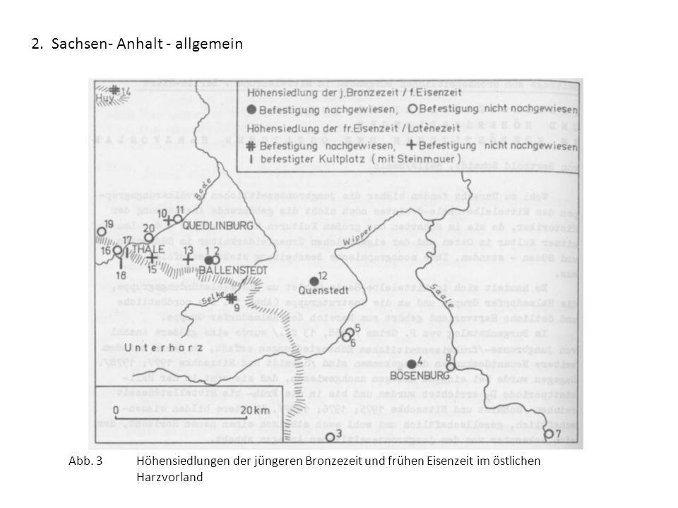 2. Sachsen- Anhalt - allgemein Abb. 3 Höhensiedlungen der jüngeren Bronzezeit und frühen Eisenzeit im östlichen Harzvorland