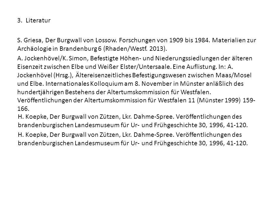 3. Literatur S. Griesa, Der Burgwall von Lossow. Forschungen von 1909 bis 1984. Materialien zur Archäologie in Brandenburg 6 (Rhaden/Westf. 2013). A.