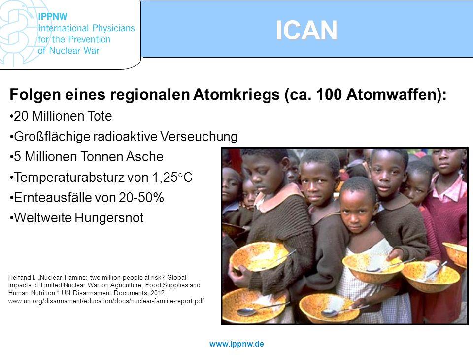 ICAN Folgen eines regionalen Atomkriegs (ca. 100 Atomwaffen): 20 Millionen Tote Großflächige radioaktive Verseuchung 5 Millionen Tonnen Asche Temperat