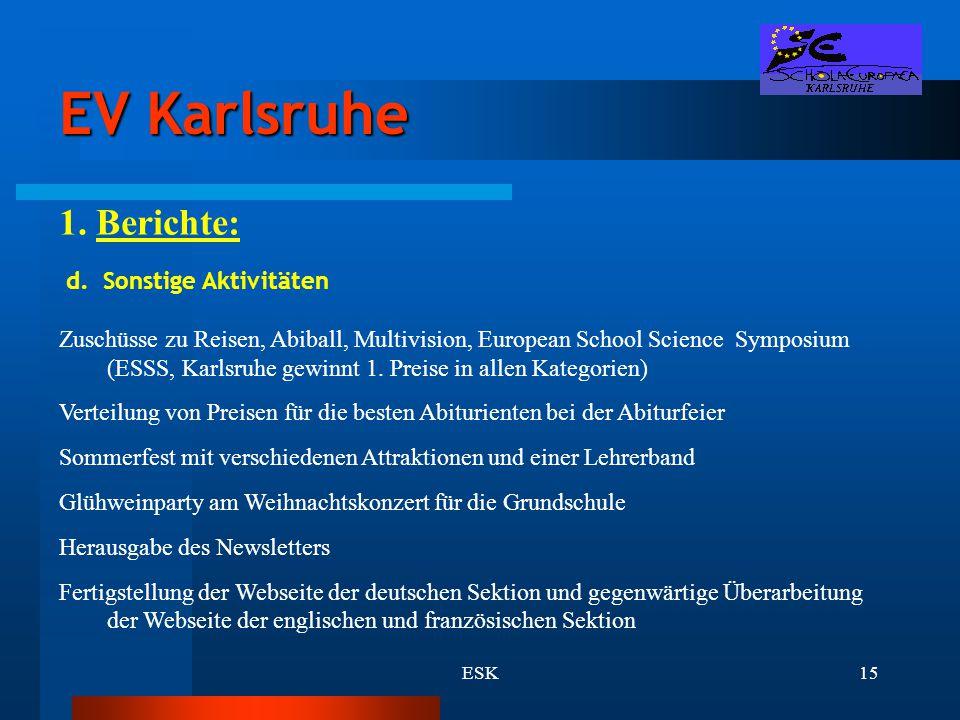 ESK15 EV Karlsruhe 1. Berichte: d. Sonstige Aktivitäten Zuschüsse zu Reisen, Abiball, Multivision, European School Science Symposium (ESSS, Karlsruhe