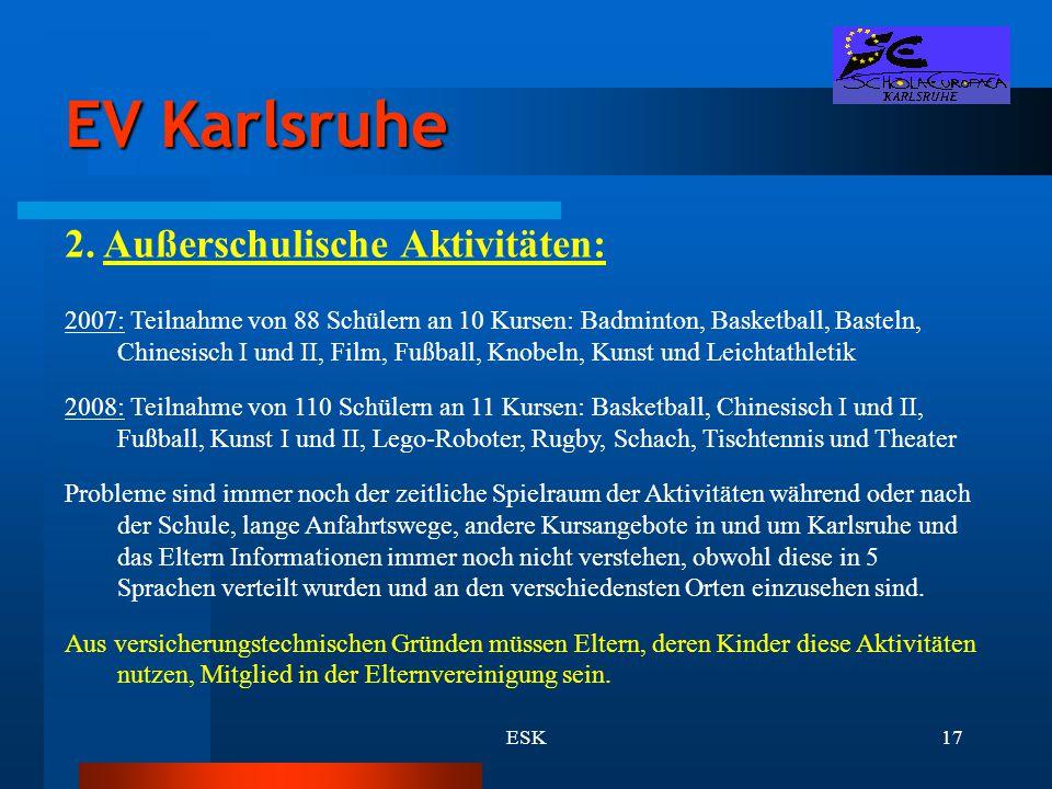 ESK17 EV Karlsruhe 2. Außerschulische Aktivitäten: 2007: Teilnahme von 88 Schülern an 10 Kursen: Badminton, Basketball, Basteln, Chinesisch I und II,
