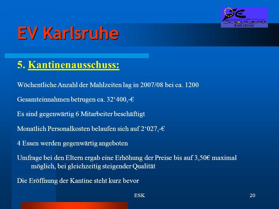 ESK20 EV Karlsruhe 5. Kantinenausschuss: Wöchentliche Anzahl der Mahlzeiten lag in 2007/08 bei ca. 1200 Gesamteinnahmen betrugen ca. 32'400,-€ Es sind