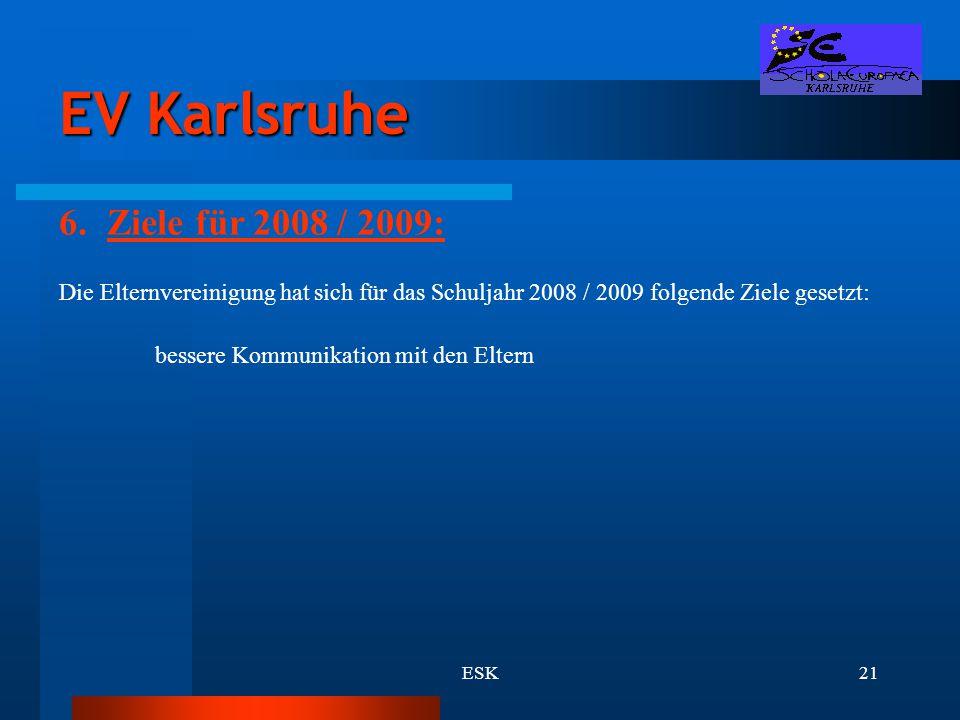 ESK21 EV Karlsruhe 6.Ziele für 2008 / 2009: Die Elternvereinigung hat sich für das Schuljahr 2008 / 2009 folgende Ziele gesetzt: bessere Kommunikation