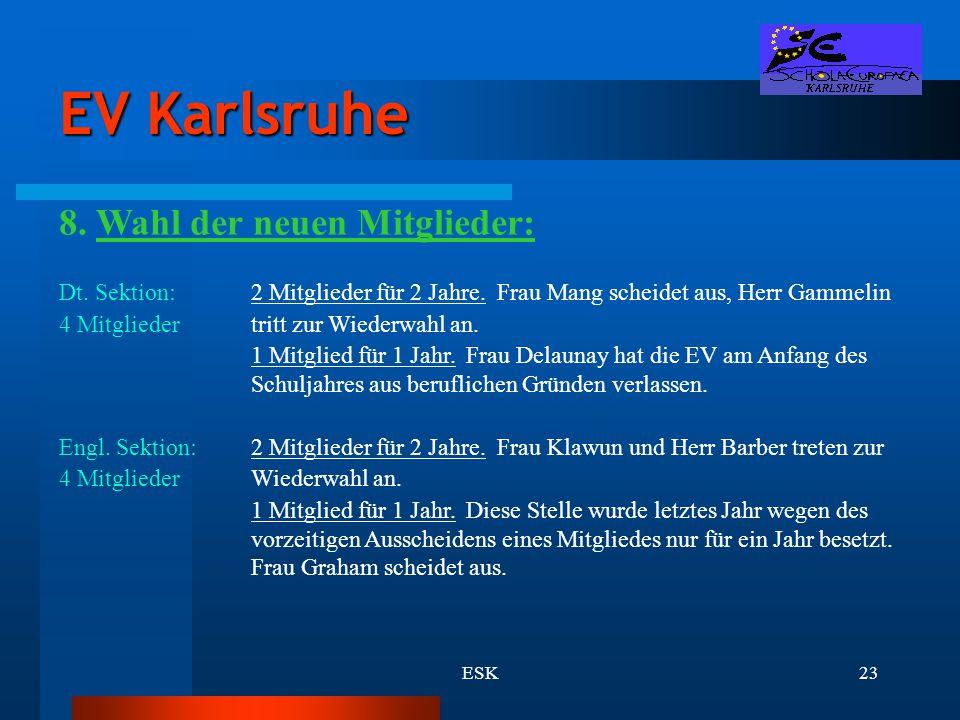 ESK23 EV Karlsruhe 8. Wahl der neuen Mitglieder: Dt. Sektion:2 Mitglieder für 2 Jahre. Frau Mang scheidet aus, Herr Gammelin 4 Mitgliedertritt zur Wie