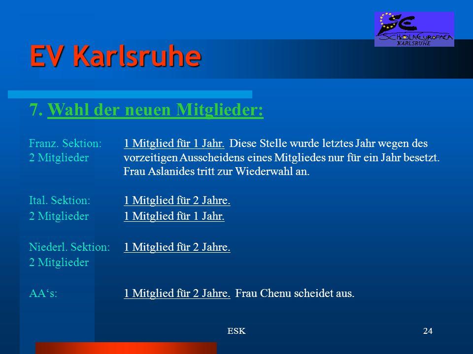 ESK24 EV Karlsruhe 7. Wahl der neuen Mitglieder: Franz. Sektion:1 Mitglied für 1 Jahr. Diese Stelle wurde letztes Jahr wegen des 2 Mitgliedervorzeitig