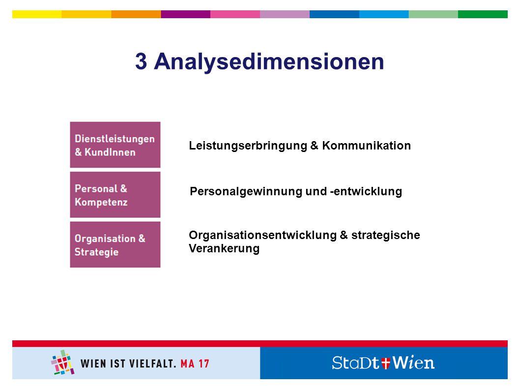 Leistungserbringung & Kommunikation Personalgewinnung und -entwicklung Organisationsentwicklung & strategische Verankerung 3 Analysedimensionen