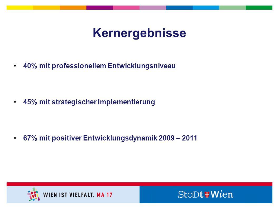 40% mit professionellem Entwicklungsniveau 45% mit strategischer Implementierung 67% mit positiver Entwicklungsdynamik 2009 – 2011 Kernergebnisse