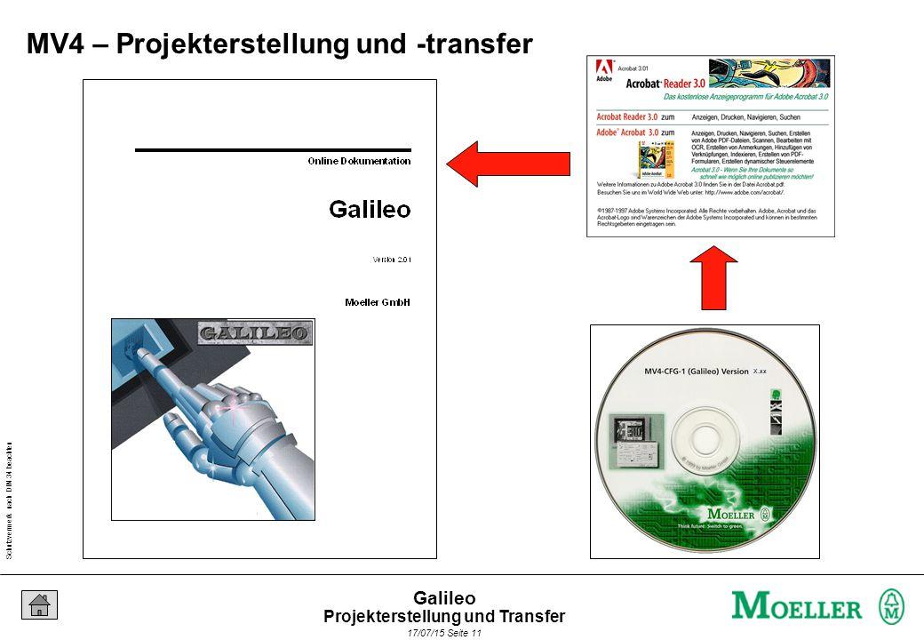 Schutzvermerk nach DIN 34 beachten 17/07/15 Seite 11 Galileo X.xx MV4 – Projekterstellung und -transfer Projekterstellung und Transfer