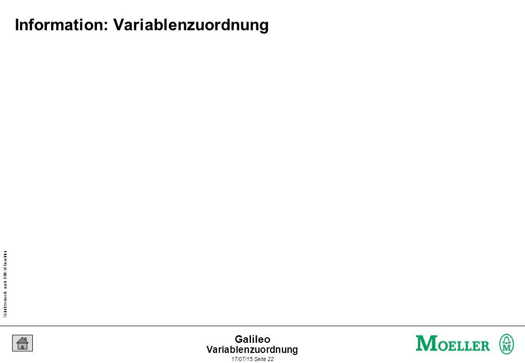 Schutzvermerk nach DIN 34 beachten 17/07/15 Seite 22 Galileo Information: Variablenzuordnung Variablenzuordnung