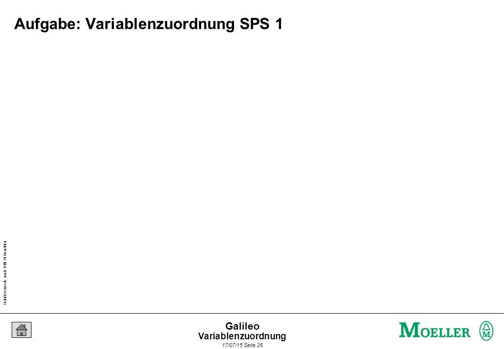 Schutzvermerk nach DIN 34 beachten 17/07/15 Seite 26 Galileo Aufgabe: Variablenzuordnung SPS 1 Variablenzuordnung
