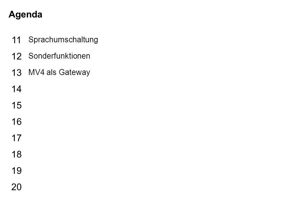 Schutzvermerk nach DIN 34 beachten 17/07/15 Seite 3 Galileo Agenda 15 16 17 18 19 20 11 12 13 14 Sprachumschaltung Sonderfunktionen MV4 als Gateway