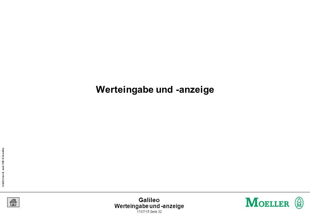 Schutzvermerk nach DIN 34 beachten 17/07/15 Seite 32 Galileo Werteingabe und -anzeige