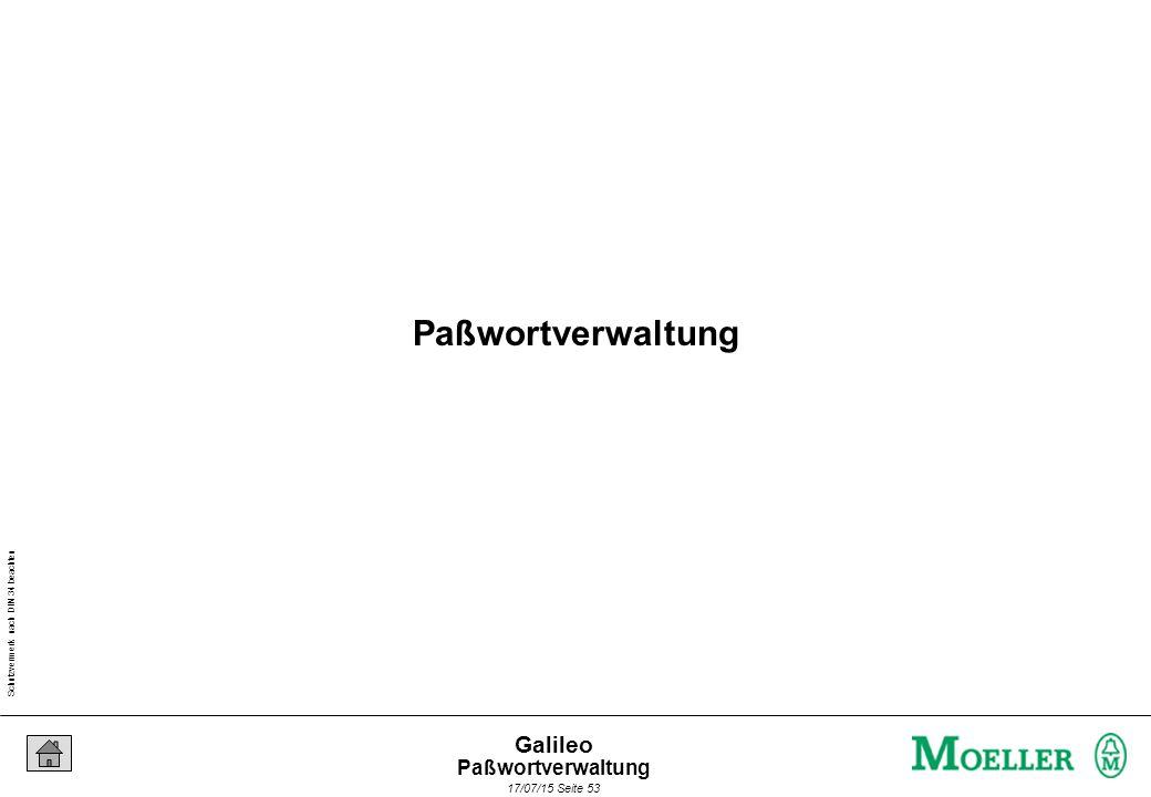Schutzvermerk nach DIN 34 beachten 17/07/15 Seite 53 Galileo Paßwortverwaltung