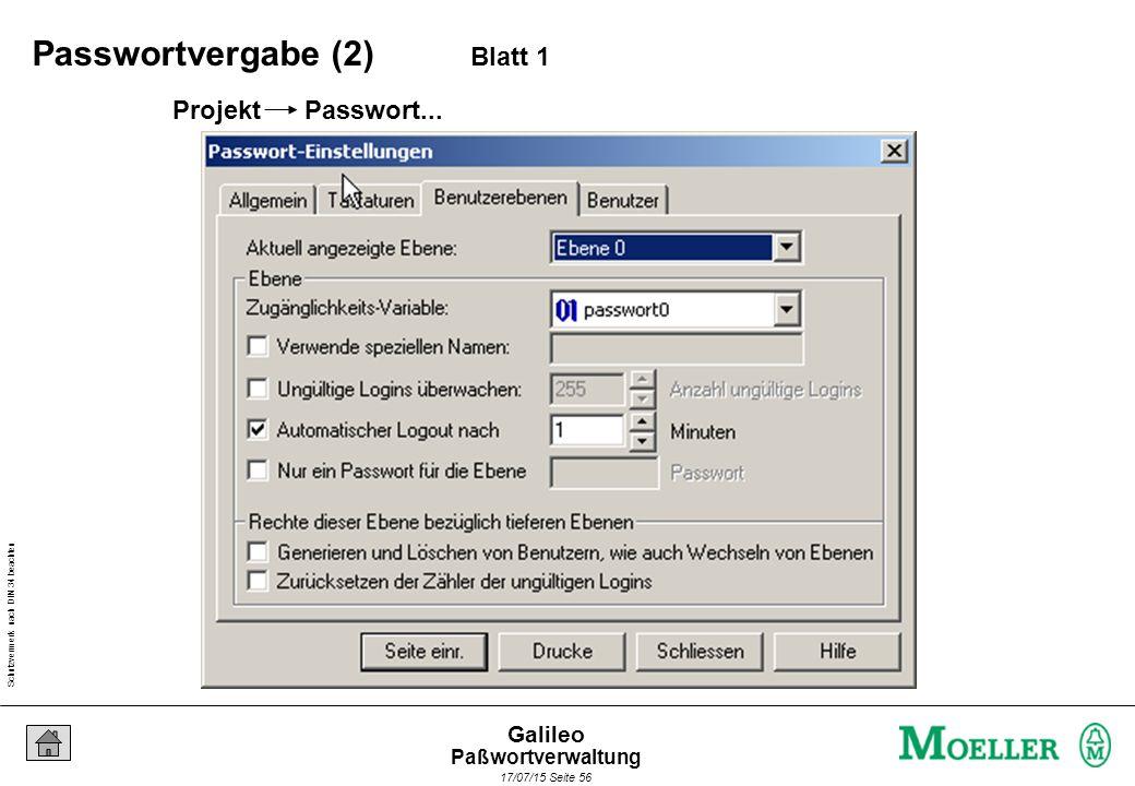 Schutzvermerk nach DIN 34 beachten 17/07/15 Seite 56 Galileo Projekt Passwort... Passwortvergabe (2) Blatt 1 Paßwortverwaltung