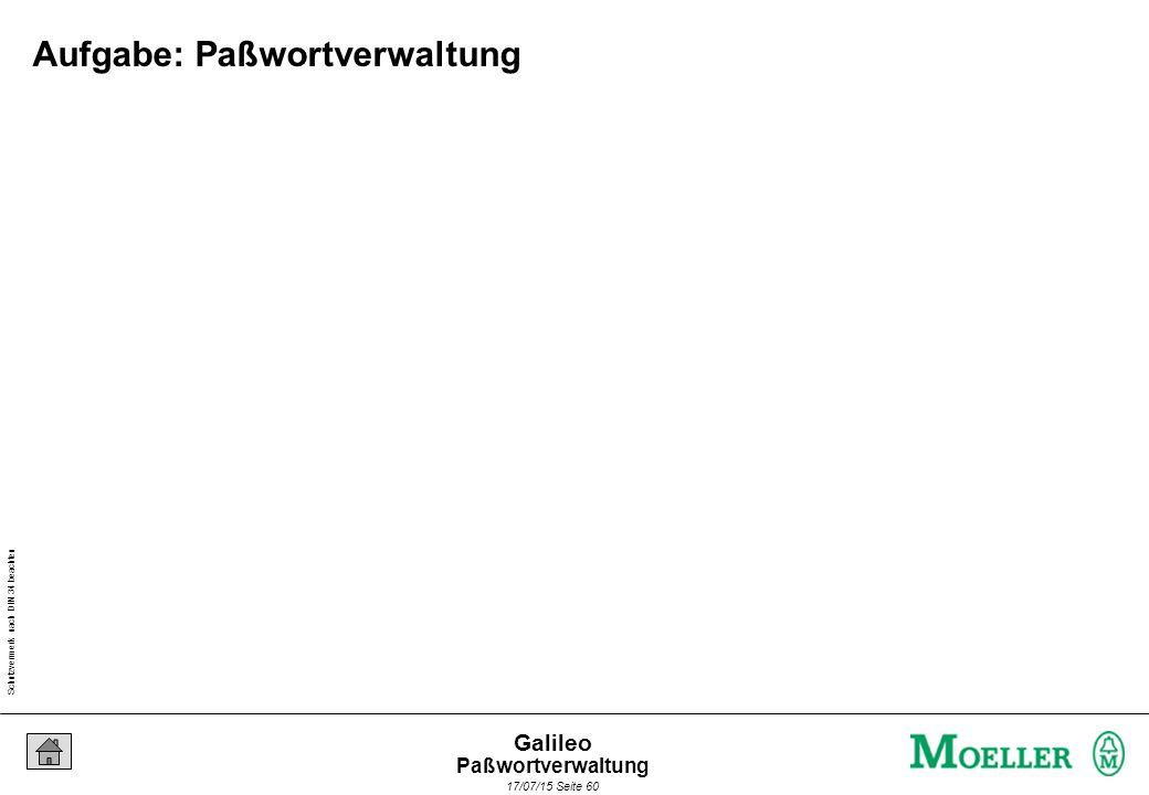 Schutzvermerk nach DIN 34 beachten 17/07/15 Seite 60 Galileo Aufgabe: Paßwortverwaltung Paßwortverwaltung