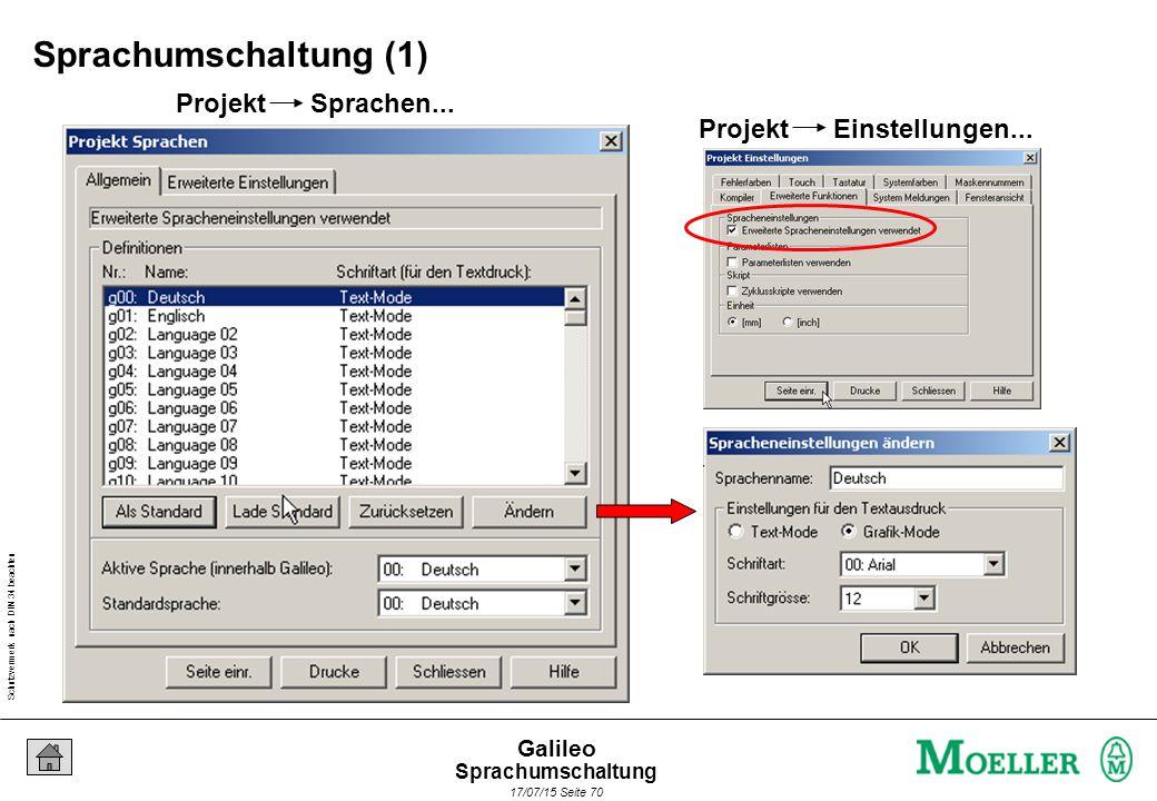 Schutzvermerk nach DIN 34 beachten 17/07/15 Seite 70 Galileo Projekt Sprachen... Projekt Einstellungen... Sprachumschaltung (1) Sprachumschaltung