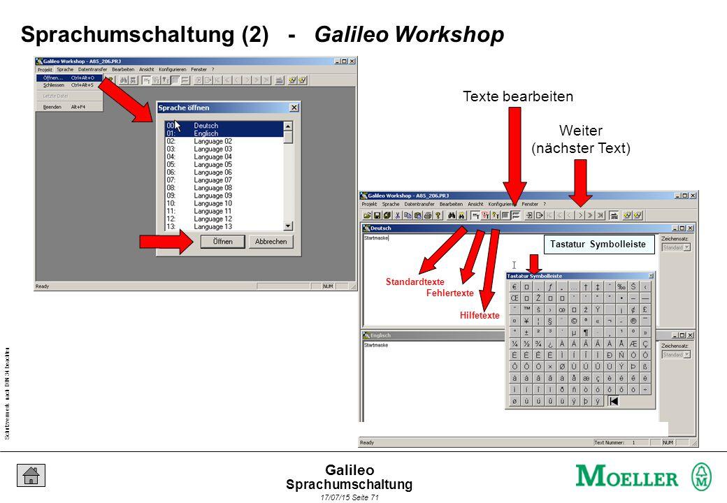 Schutzvermerk nach DIN 34 beachten 17/07/15 Seite 71 Galileo Standardtexte Fehlertexte Hilfetexte Tastatur Symbolleiste Sprachumschaltung (2) - Galile