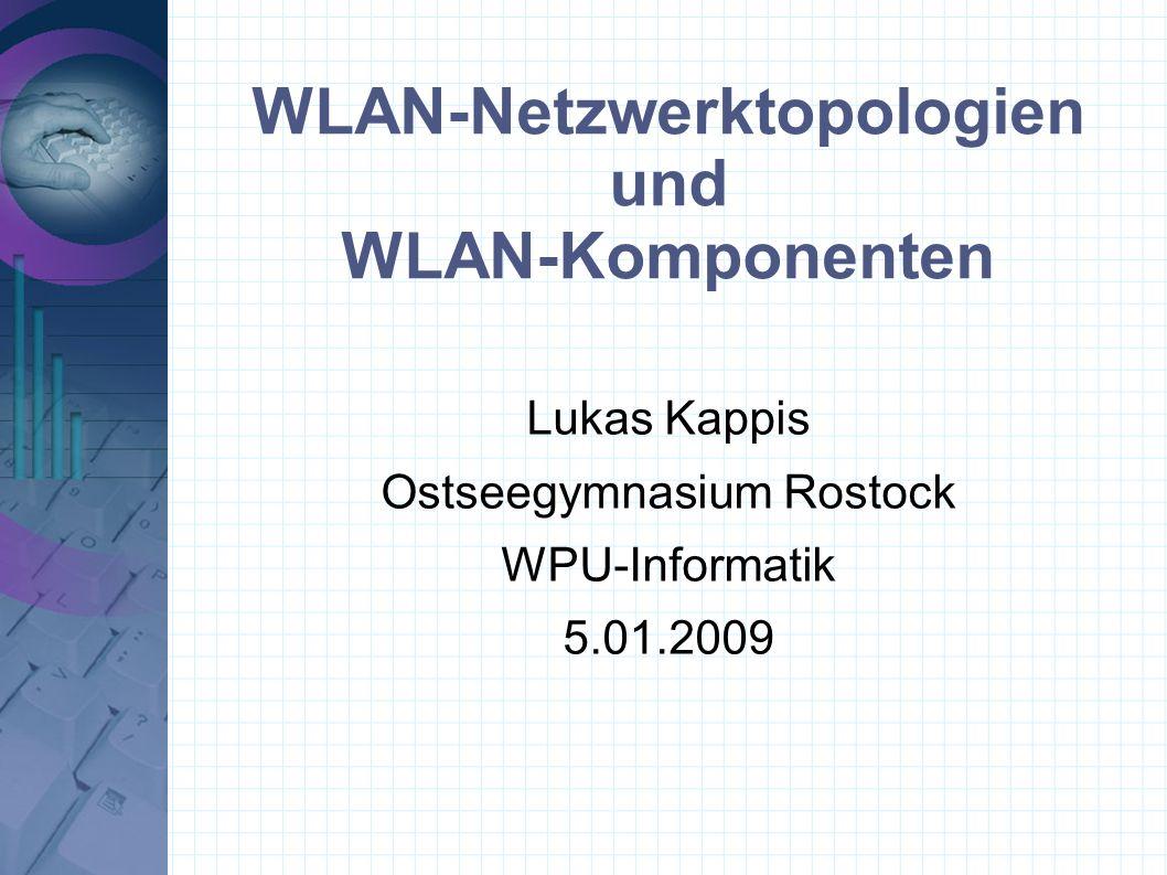 Gliederung 1.WLAN-Netzwerktopologien 1.Begriff 2.Arten 3.Unterschiede 2.WLAN-Komponenten 1.Sende- und Empfangseinheiten 2.Antennen 3.Zusammenfassung 4.Quellen