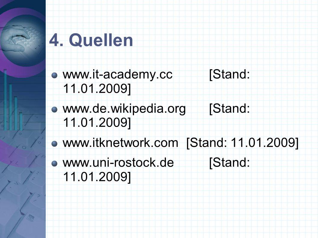 4. Quellen www.it-academy.cc[Stand: 11.01.2009] www.de.wikipedia.org[Stand: 11.01.2009] www.itknetwork.com[Stand: 11.01.2009] www.uni-rostock.de[Stand