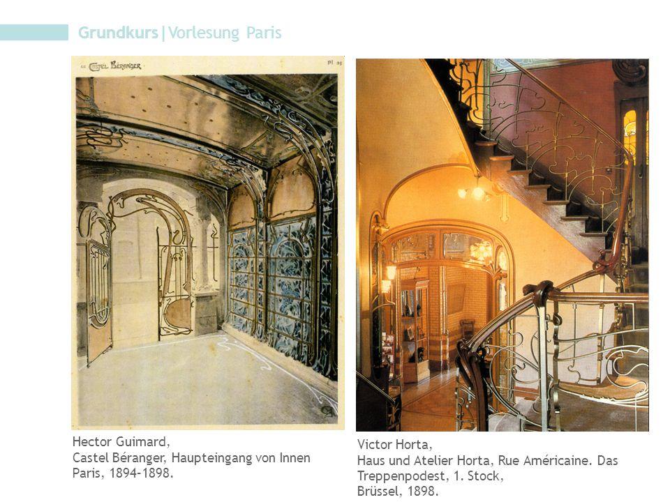 Hector Guimard, Castel Béranger, Haupteingang von Innen Paris, 1894–1898. Victor Horta, Haus und Atelier Horta, Rue Américaine. Das Treppenpodest, 1.