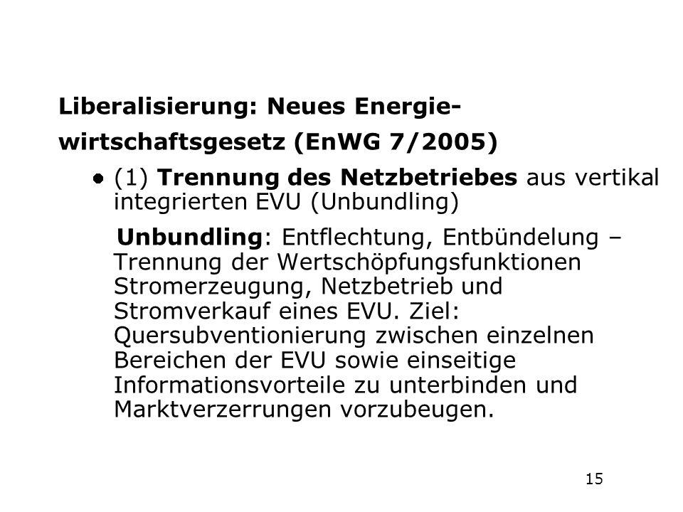 1514 Geschichte der Energiepolitik in Deutschland 1946-2008 Liberalisierung: Neues Energie- wirtschaftsgesetz (EnWG 7/2005) (1) Trennung des Netzbetri
