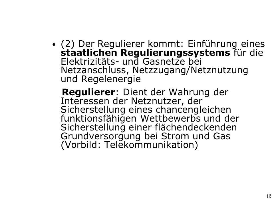 16 (2) Der Regulierer kommt: Einführung eines staatlichen Regulierungssystems für die Elektrizitäts- und Gasnetze bei Netzanschluss, Netzzugang/Netznu