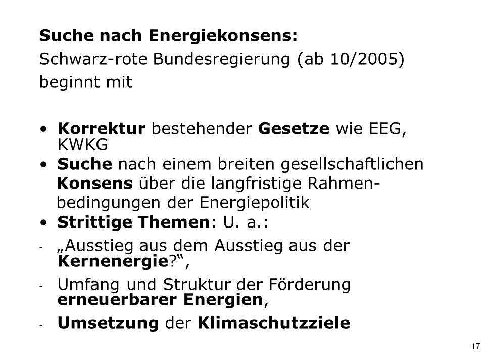 17 Suche nach Energiekonsens: Schwarz-rote Bundesregierung (ab 10/2005) beginnt mit Korrektur bestehender Gesetze wie EEG, KWKG Suche nach einem breit