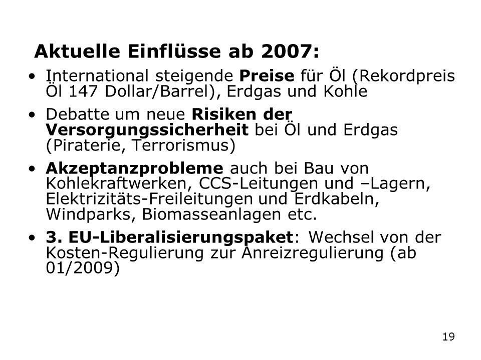 181819 Geschichte der Energiepolitik in Deutschland 1946-2008 Aktuelle Einflüsse ab 2007: International steigende Preise für Öl (Rekordpreis Öl 147 Do