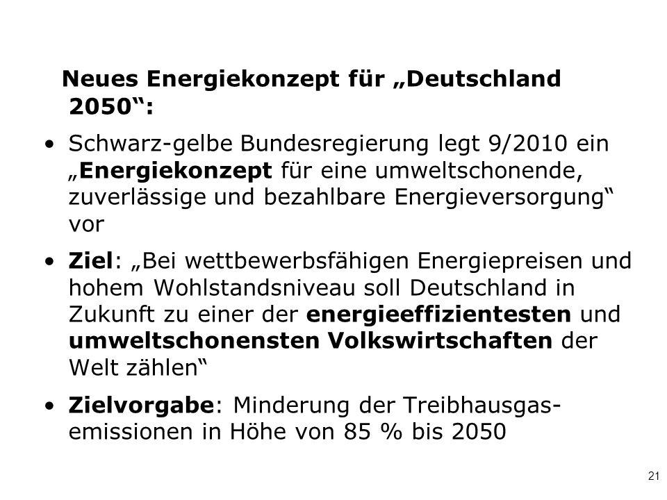 """21 Neues Energiekonzept für """"Deutschland 2050"""": Schwarz-gelbe Bundesregierung legt 9/2010 ein """"Energiekonzept für eine umweltschonende, zuverlässige u"""