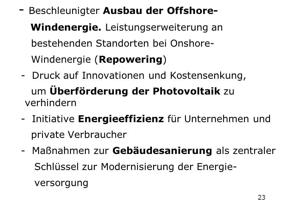 - Beschleunigter Ausbau der Offshore- Windenergie. Leistungserweiterung an bestehenden Standorten bei Onshore- Windenergie (Repowering) - Druck auf In