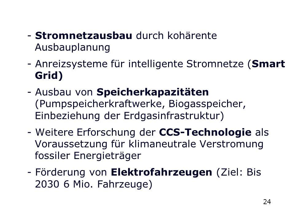- Stromnetzausbau durch kohärente Ausbauplanung - Anreizsysteme für intelligente Stromnetze (Smart Grid) - Ausbau von Speicherkapazitäten (Pumpspeiche