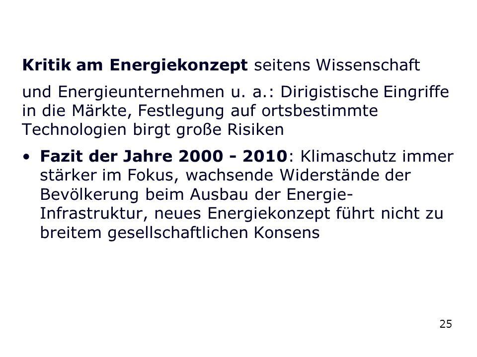 Kritik am Energiekonzept seitens Wissenschaft und Energieunternehmen u. a.: Dirigistische Eingriffe in die Märkte, Festlegung auf ortsbestimmte Techno
